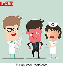 eps10, doutor, -, ilustração, vetorial, paciente, caricatura