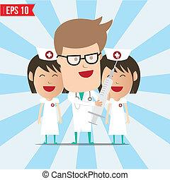 eps10, doutor, -, ilustração, vetorial, sorrizo, siringa, usando, enfermeira, caricatura