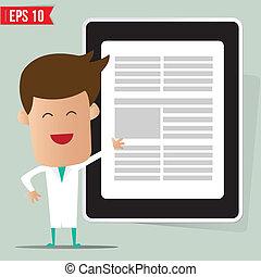 eps10, doutor, mostrando, -, ilustração, vetorial, relatório