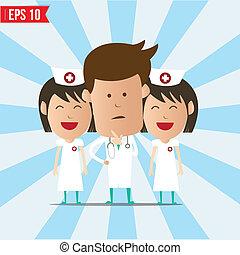 eps10, doutor, pensando, -, ilustração, vetorial, sorrizo, enfermeira, caricatura