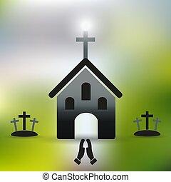 eps10, egyszerű, kézbesít, kereszt, templom, keresztény, imádkozás