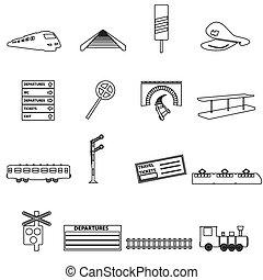 eps10, esboço, ícones, simples, trem, estrada ferro