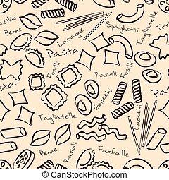eps10, esboço, alimento, padrão, seamless, símbolos, macarronada, tipos
