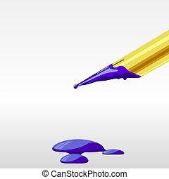 eps10, eterno, ilustración, pluma, tinta, blots.