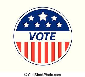 eps10, eua, ilustração, vetorial, voto, emblema