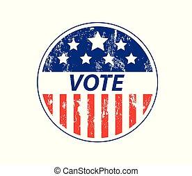 eps10, eua, ilustração, vetorial, voto, grunge, emblema