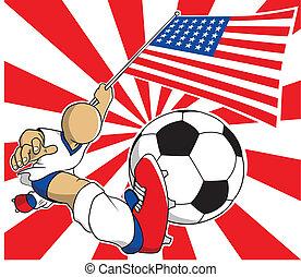 eps10, eua, jogador, vetorial, futebol, caricatura