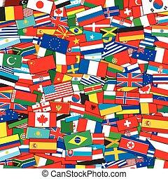 eps10, experiência., vetorial, bandeiras, modelo, mundo