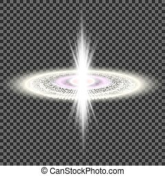 Explosion of a star in space. Bright glow. Flighting debris. Space background