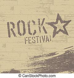 eps10, festival, affiche, résumé, vecteur, rocher, template.
