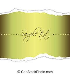 Golden tear paper - Eps10 file. Golden tear paper with blank...