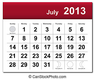 EPS10 file. July 2013 calendar. The EPS file includes the version in blue, green and black in different layers