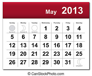 EPS10 file. May 2013 calendar. The EPS file includes the version in blue, green and black in different layers