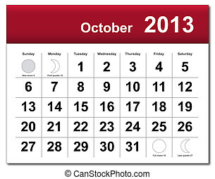 EPS10 file. October 2013 calendar. The EPS file includes the version in blue, green and black in different layers