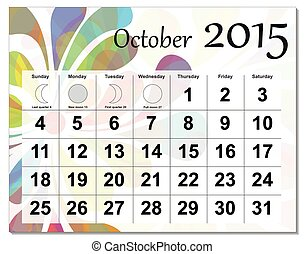 October 2015 calendar. - EPS10 file. October 2015 calendar.