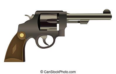 Vector handgun isolated - EPS10 file. Vector handgun...