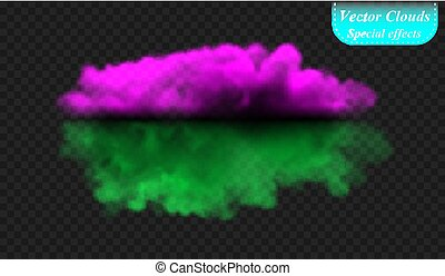 Fog or smoke is insulated by a transparent special effect. Ultra-violet and green vector cloud cover, fog fog background. illustration