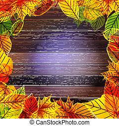 eps10, foglie, giallo, autunno, fondo., bagnato
