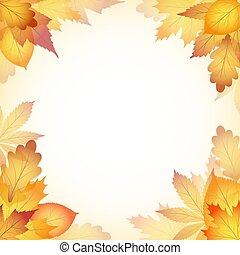 eps10, folhas, outono, árvore., desenho, fundo, queda