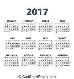 eps10., fondo., blanco, vector, 2017, calendario