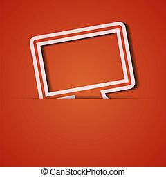 eps10, fondo., vector, applique., naranja, icono