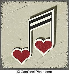 eps10, forma, cartão postal, vindima, sinal, hearts., musical