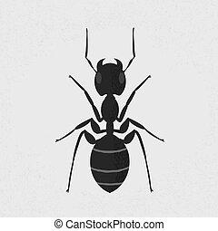 eps10, formato, hormiga, vector, negro