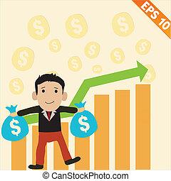 eps10, geld, -, illustratie, vector, grafiek, positief, zakenman, spotprent