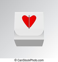 Gift box with red hearts vector illustration isolated on white background