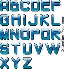 eps10 glossy alphabet blue tech