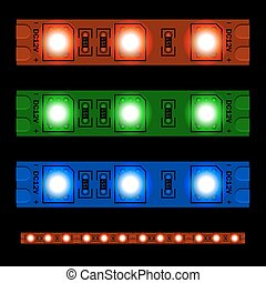EPS10 glowing LED light strip seamless - illustration for...