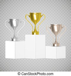 Gold, Silver and Bronze Trophy Cup on prize podium isolated. Vector illustration