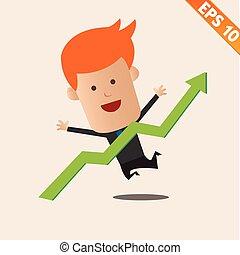 eps10, grafiek, -, illustratie, vector, positief, zakenman, spotprent