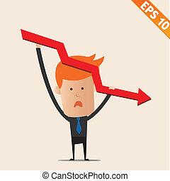eps10, graphique, -, négatif, illustration, vecteur, homme affaires, dessin animé