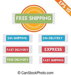 eps10, -, gratuite, livraison, vecteur, illustration, logistique, publicité