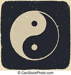 eps10., grunge, ilustración, símbolo, yin, fondo., vector, ...