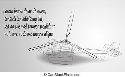 Helicopter of black lines on a white background. Drawing sketch. Vector illustration.
