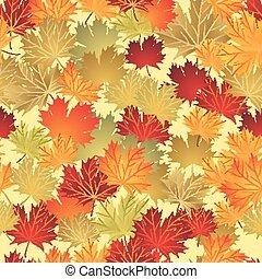 eps10, hojas, seamless, ilustración, otoño, fondo., vector