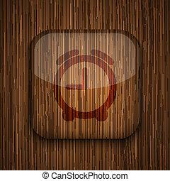 eps10, houten, app, achtergrond., vector, pictogram