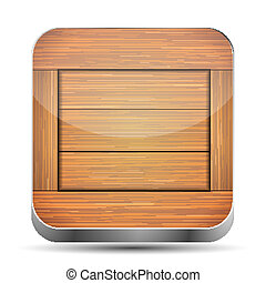 eps10, houten, app, achtergrond., vector, witte , pictogram