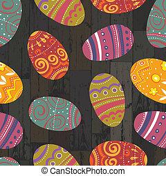 eps10, houten, eitjes, achtergrond., vector, pasen, grondslagen