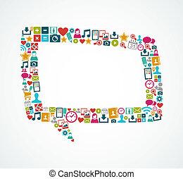 eps10, icônes, média, isolé, parole, social, bulle, file.