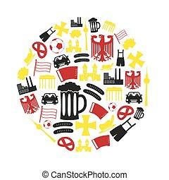 eps10, iconen, kleur, land, symbolen, thema, duitsland, cirkel