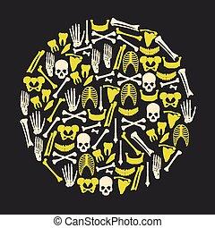 eps10, iconos, grande, amarillo, humano, huesos, círculo