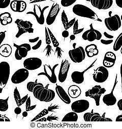 eps10, Ikona, jednoduchý, model, zelenina,  seamless, čerň