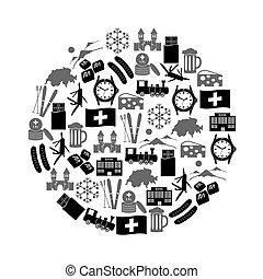 eps10, Ikona, Země, Symbol, námět, Švýcarsko, kruh