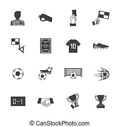 eps10, ikony, piłka nożna, wektor, czarnoskóry, biały, piłka nożna