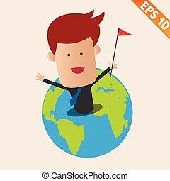 eps10, -, illustratie, vector, aarde, zakenman, spotprent