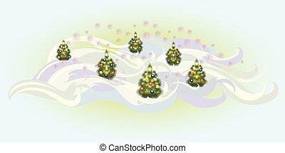eps10, illustratie, vector, bomen, balls., kerstmis
