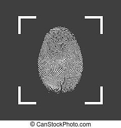eps10, illustration, arrière-plan., vecteur, noir, empreinte doigt, icône